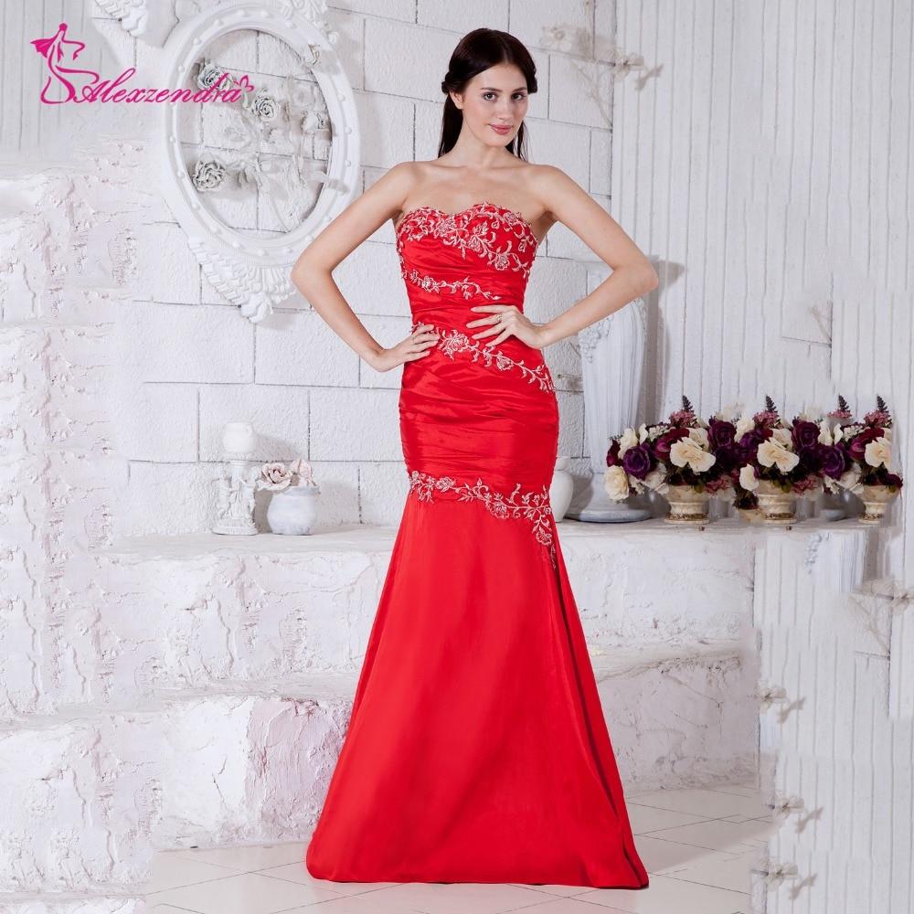Alexzendra rouge chérie perles sirène robes de bal robe de soirée robe de soirée personnaliser