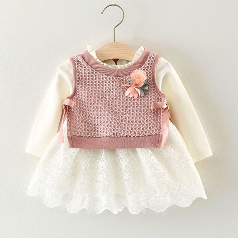 Spring Flower Princess Dress For Newborns 1 Year Birthday And Party Dressing Infant Baby Girl Wedding Dress Toddler Clothing