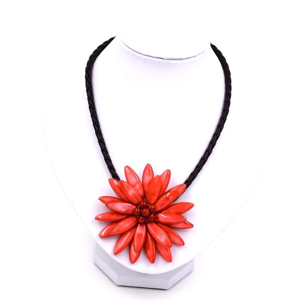2019 New Arrival Fashion Jewelry Fresh Water Red Mother Pearl Shell Flower Necklace