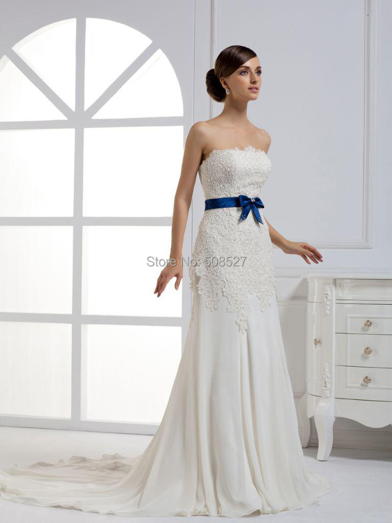 Popular wedding dress with blue sash buy cheap wedding for Blue sash for wedding dress