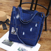 8b4fc47a208c New Fashion Women Denim Shoulder Bag Cowgirl Handbag Female Shopping bag  Lady Ripped Jeans Design School Books Bag Casual Totes