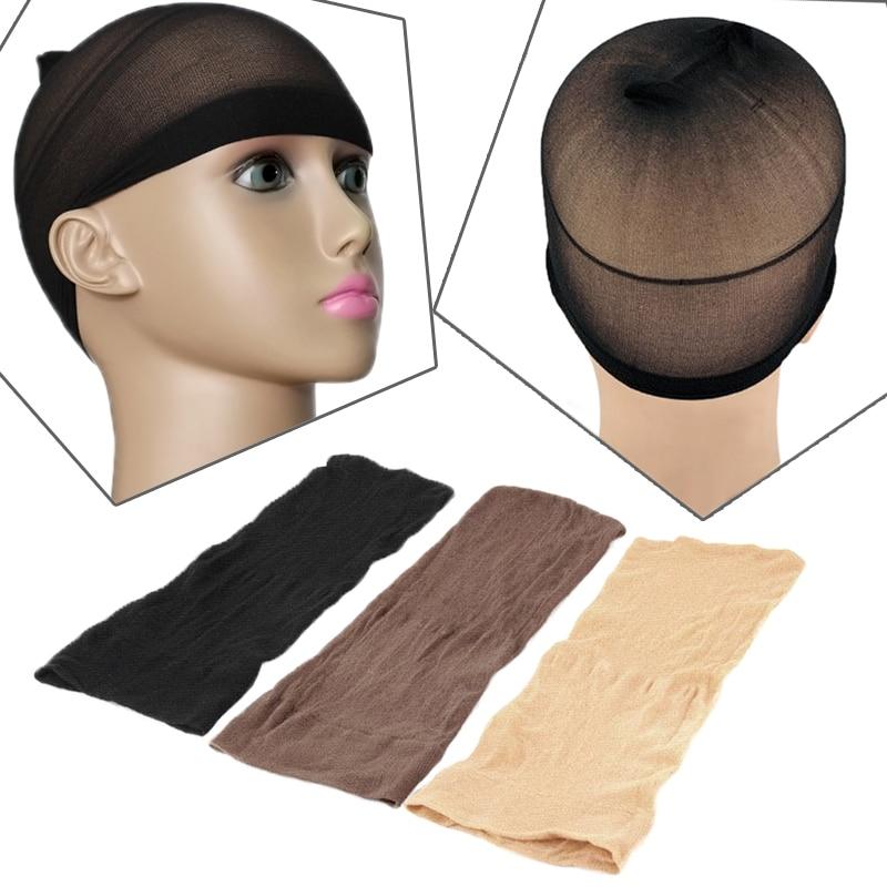 2PCS Elastic Unisex Stocking Wig Liner Cap Snood Nylon Stretch Mesh Beige  # L04708