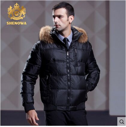 d8f89216341a 2016 Shenowa Men White Duck Down Raccoon Fur Hooded Down Parkas Down Jacket  Russia Winter Thick Down Coat Top Quality S-3XL