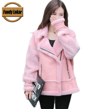 Fande Lokar Bomber Jackets Real Fur Coat For Women Leather Jacket Lamb Fur Coat Women Sheepskin Coats Shearling Colored Fur Coat