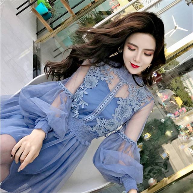 ef317d1212d8 2018 New fashion women summer lace mesh floral dress Korean Style sexy  beach holiday chiffon two
