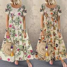 Summer New Fashion Womens Plus Size Casual Short Sleeve Boho Retro Linen Print Long Maxi Dr