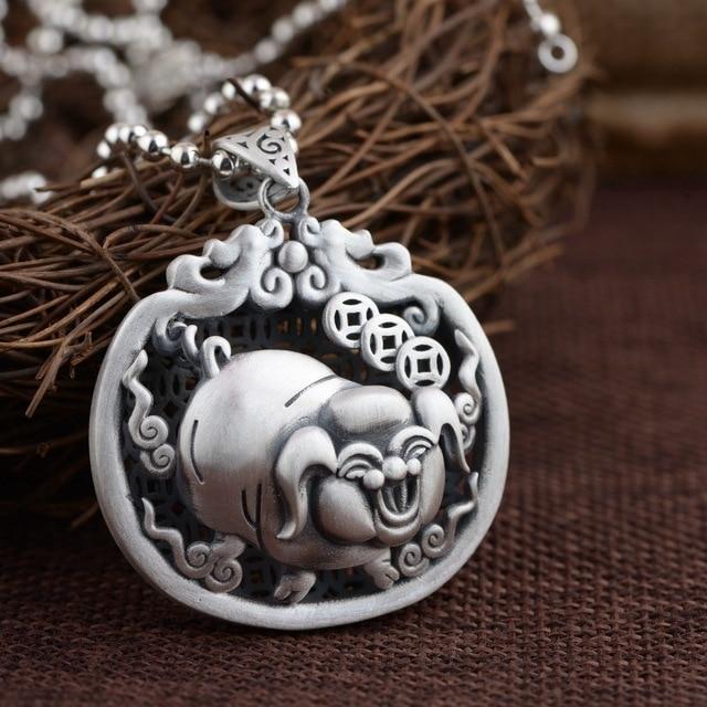 Handmade silver silver pendants wholesale s990 double sided hollow handmade silver silver pendants wholesale s990 double sided hollow fu pig pendant antique matte process aloadofball Images