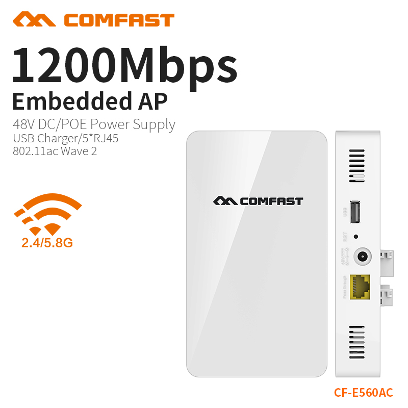 COMFAST 1200Mbs Wall Embedded AP Router 2.4G 5.8G Dual Band Wireless WIFI Wave2 Access Point USB Charger +5* RJ45 Port CF-E560AC comfast full gigabit core gateway ac gateway controller mt7621 wifi project manager with 4 1000mbps wan lan port 880mhz cf ac200