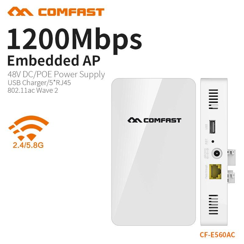 COMFAST 1200Mbs mur intégré AP routeur 2.4G 5.8G double bande sans fil WIFI Wave2 Point d'accès USB chargeur + 5 * RJ45 Port CF-E560AC