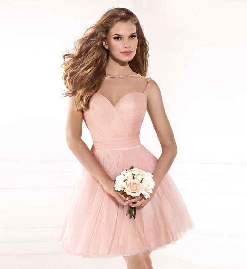 Robe courte de soiree rose pale