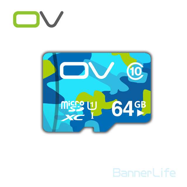 10PCS/LOT OV Colorful Memory Micro SD Card 64GB Class 10 UHS-1 TF Carte Microsd Flash Card SDCard for Mobile Phone Smartphone