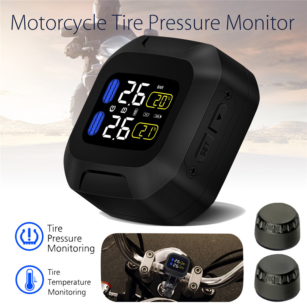 M3 LCD Motorcycle TPMS Tire Pressure Monitor System Tempreature PSI BAR With USB External Sensors Waterproof Wireless Alarm