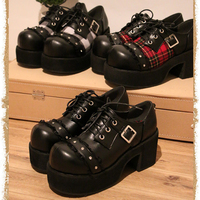 Women's Plaid Lace Up Lolita Round Toe High Platform Belt Buckle Creeper Block Heel Shoes Punk Gothic