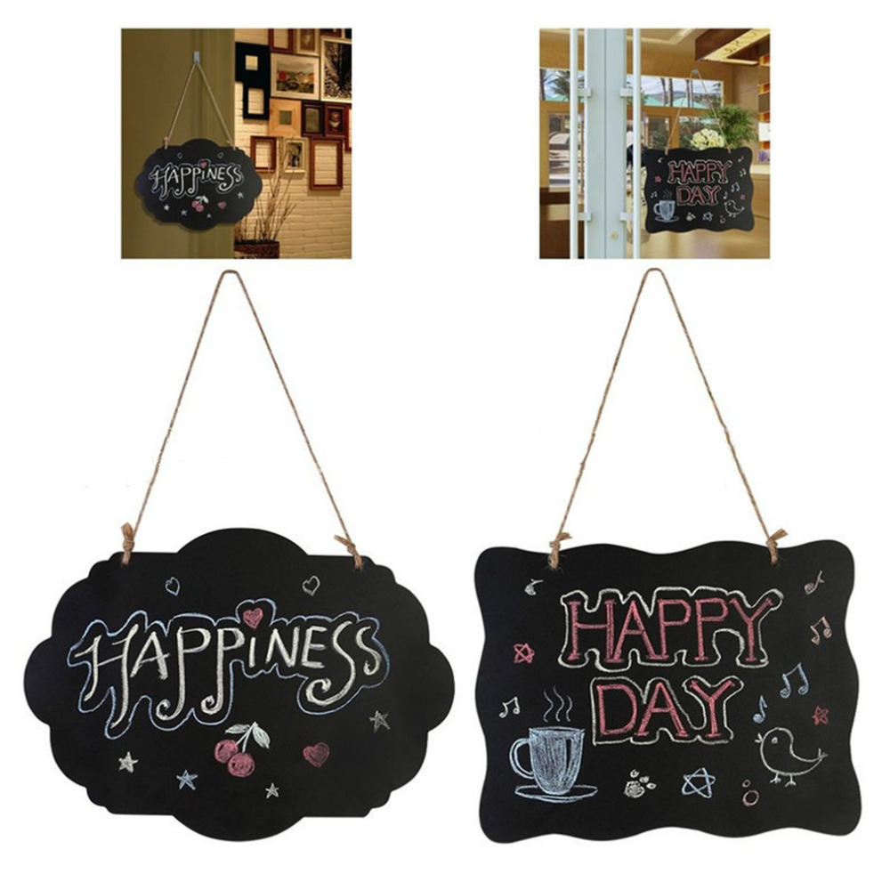 Hanging Wooden Blackboard Double Sided Erasable Chalkboard Wordpad Message Black Board Office School Supplies