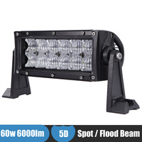 60w 7 Inch LED Light Bar 5D 4x4 4WD SUV Car Offroad Driving Work Light LED