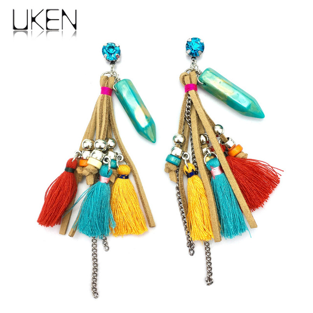 UKEN Fashion Leather Yarn Beads Rhinestones Stone Dangle Earrings Women  Bohemia Tassels Earrings Ethnic Jewelry c0e637a3db7c