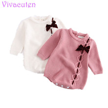 New Cotton Baby Romper Long Sleeve Infant Jumpsuit  Collar Baby Knit Overall Romper Newborn Girl Clothes стоимость