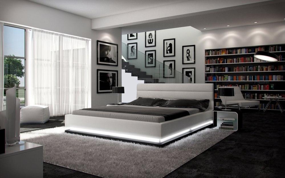 control remoto led moderno de cuero suave cama muebles de dormitorio de matrimonio hecho en china