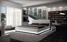 LED remote control contemporary modern leather soft bed King size bedroom furniture Made in China