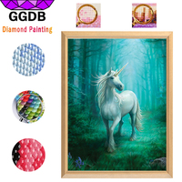 GGDB Hot 5D Diy Diamond Painting Unicorn Look Back Painting And Fantasy Gifts Wall Decor Of