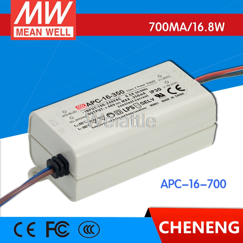 16.8W 9-24V 700mA Constant Current Mean Well APC-16-700 LED Power Supplies Input Output 90~264VAC; 127~370VDC.