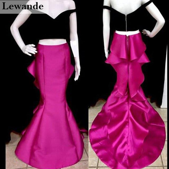 Lewande 50750 negro fucsia sirena Ruffles prom vestido de novia ...