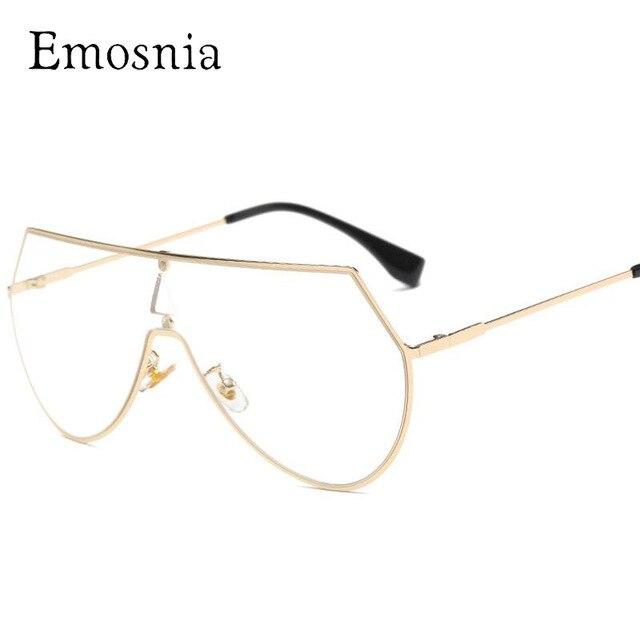41741f4e62e6b Emosnia 2017 luxe clair lunettes une pièce lunettes transparentes femmes  hommes miroir rose Len pilote lunettes