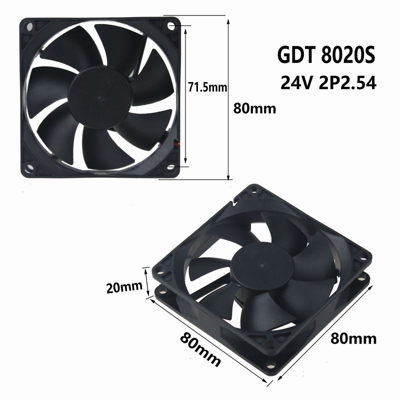 1 pcs Gdstime 80mm x 80mm x 20mm 8cm 24V 2Pin DC Brushless PC Computer Cooling Fan 80x80x20mm 80mm dc brushless pc chassis cooling fan