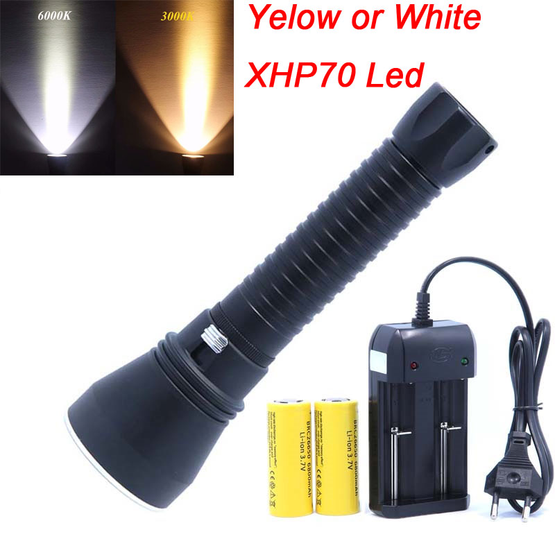 Super Bright  XHP70 LED Yellow Or White Light 4000 Lumens Diving Flashlight Tactical 26650 Torch Underwater 100M WaterproofSuper Bright  XHP70 LED Yellow Or White Light 4000 Lumens Diving Flashlight Tactical 26650 Torch Underwater 100M Waterproof