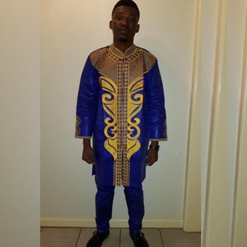 PH37 dashiki الرجال الزي ملابس الرجال الملابس الأفريقية الأفريقية بازان الثراء التطريز الرجال أعلى بانت الدعاوى الأفريقية