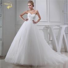 Jeanne Cinta Sayang Wedding Dresses 2018 ALine Wedding Gowns Lembut Tulle Lace Dengan Manik-manik Jubah De Mariage Plus Ukuran JLOV75954