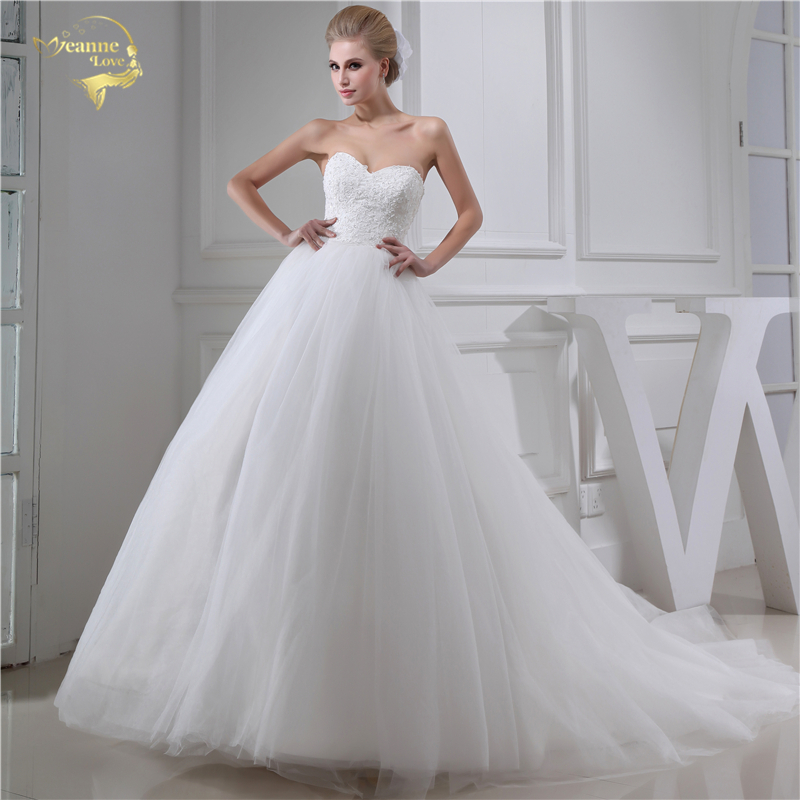 Jeanne Love Sweetheart Wedding Dresses 2019 ALine Wedding Gowns Soft Tulle Lace With Beading Robe De Mariage Plus Size JLOV75954