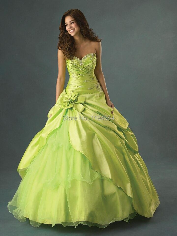 Cheap 2014 Lime Green Quinceanera Dresses A Line Masquerade Party for 15 Year Vestidos De Galae Taffeta Appliques BQ337