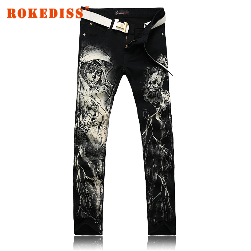 Men s clothing jeans men Painting printing cowboy trousers Flower pants Male leisure Cotton network fake