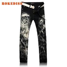 Мужская одежда джинсы мужчины Живопись печати cowboy брюки Цветочные брюки Мужской досуг Хлопок сети поддельные дизайнер одежды G221