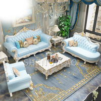 European Leather Sofa Luxury Solid Carved Sofa Living Room Solid Carved Combination Furniture Leather Sofa 1PC