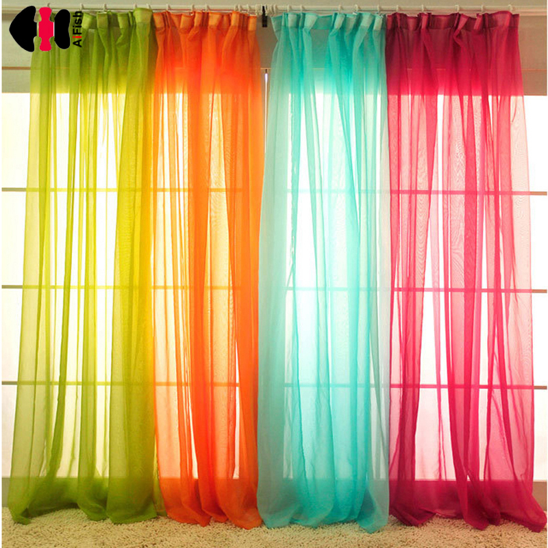 White drapes Sheer yarn tulle Orange Curtains room divider