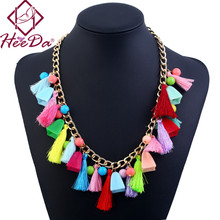 Hot-selling Boho Tassel Women Necklace Fashion Pompon Multi Kolye Ethnic Graceful Joker Statement Jewelry Elegant Vintage Bijoux