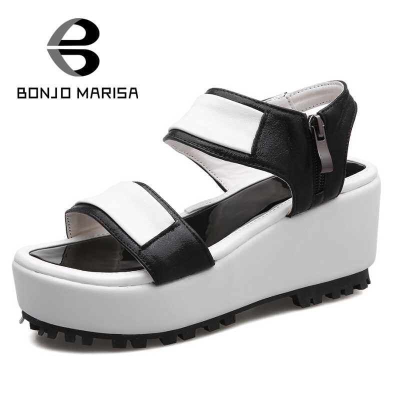 ФОТО BONJOMARISA 2017 New Arrival Women Gladiator Sandals Ladies Female Footwear Woman Higih Heel Wedges Open Toe Platform Shoes