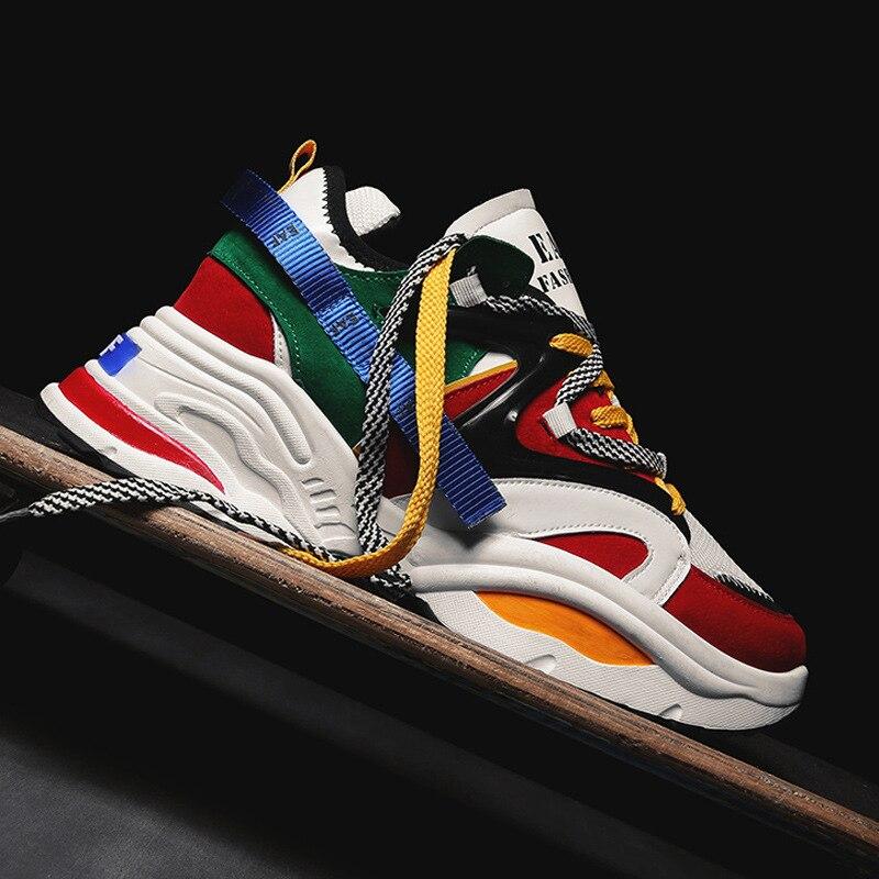 2019 Nova Chunky Homens Sneakers Lace-up Plana Casuais Sapatos Com Plataforma Cor Misturada Elegante Respirável Adulto Masculino Tenis calçado
