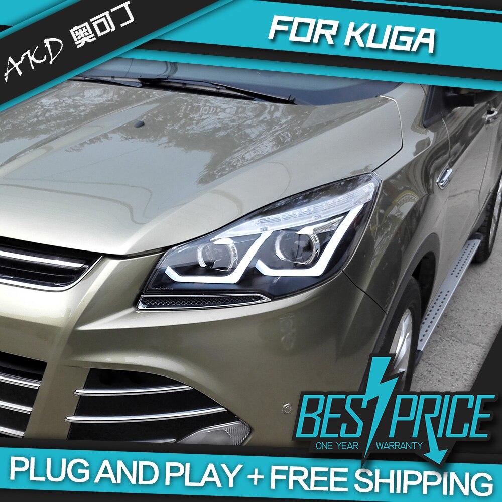 АКД автомобили Стайлинг фар для Ford Kuga Побег фары светодиодный ходовые огни Биксеноновая луча Противотуманные фары глаза ангела авто уровни
