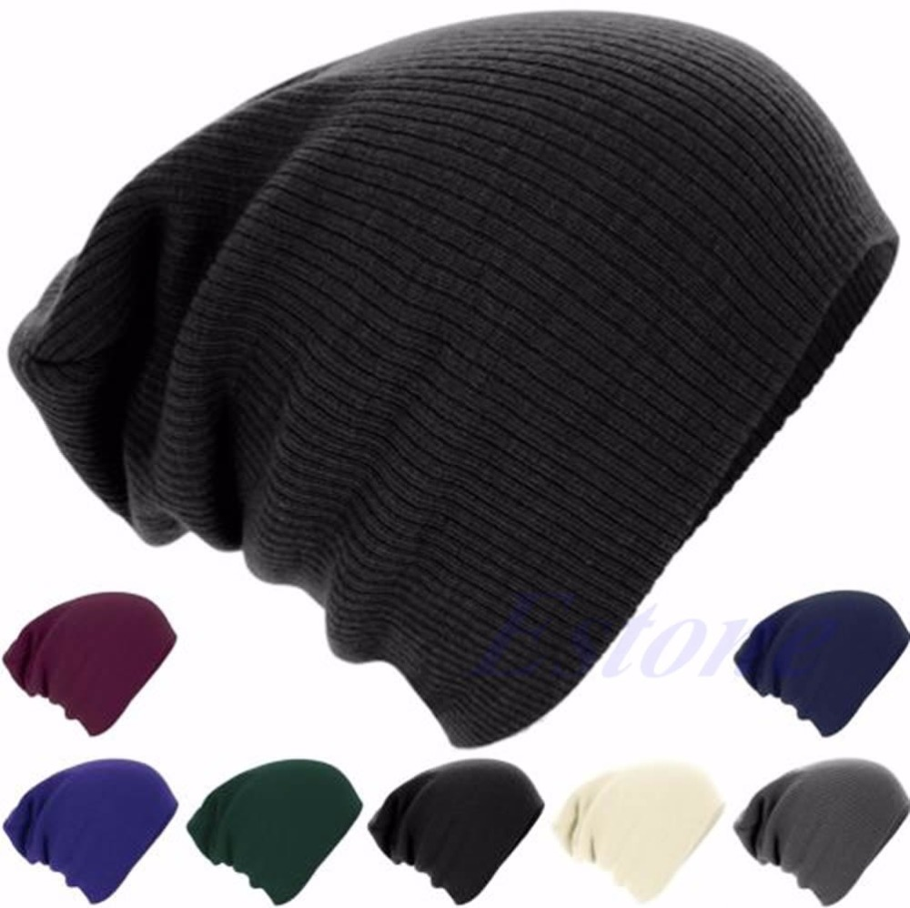 Men Women Knit Crochet Warm Oversize Slouchy Beanie Hat Hip-Hop Cap Stripe Skull pentacle star warm skull beanie hip hop knit cap ski crochet cuff winter hat for women men new sale