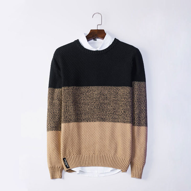 Autumn Casual Mens Fashion Sweater Winter Fashion Brand Patchwork Pullover Sweater Regular Fit Warm Knitting Clothes Sweatercoat