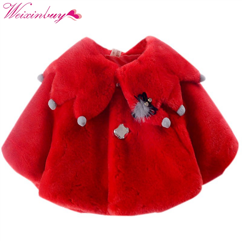 Autumn Winter Warm Baby Girls Christmas Princess Party Snow Wear New Kids High Quality Hot Sale Cloak Christmas Outerwear