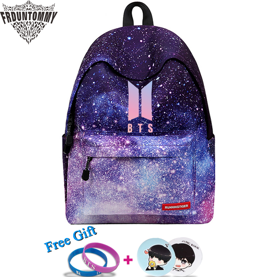 2018 BTS Backpack New arrival Printing Women Backpack Children School Bags Laptop Backpack rugtas mochila escolar Soft bag сумка asics 134934 1087 bts backpack