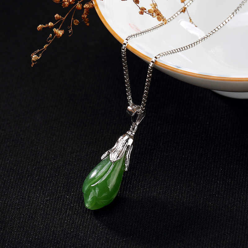 S925 Pure Silver Inlaid Natural Hetian Jade Jade Orchid Pendant Female Chain Hanging Drop Wholesale High-grade Clavicle yu xin yaun hetian white jade drop pendant silver inlaid with jade pendant
