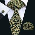 LS-1298 Gravata de Seda De Impressão dos homens Novos da Chegada de Design Da Marca de Alta Qualidade Amarelo Gravata Gravatas de Lenço Abotoaduras Conjunto Para A Festa casamento