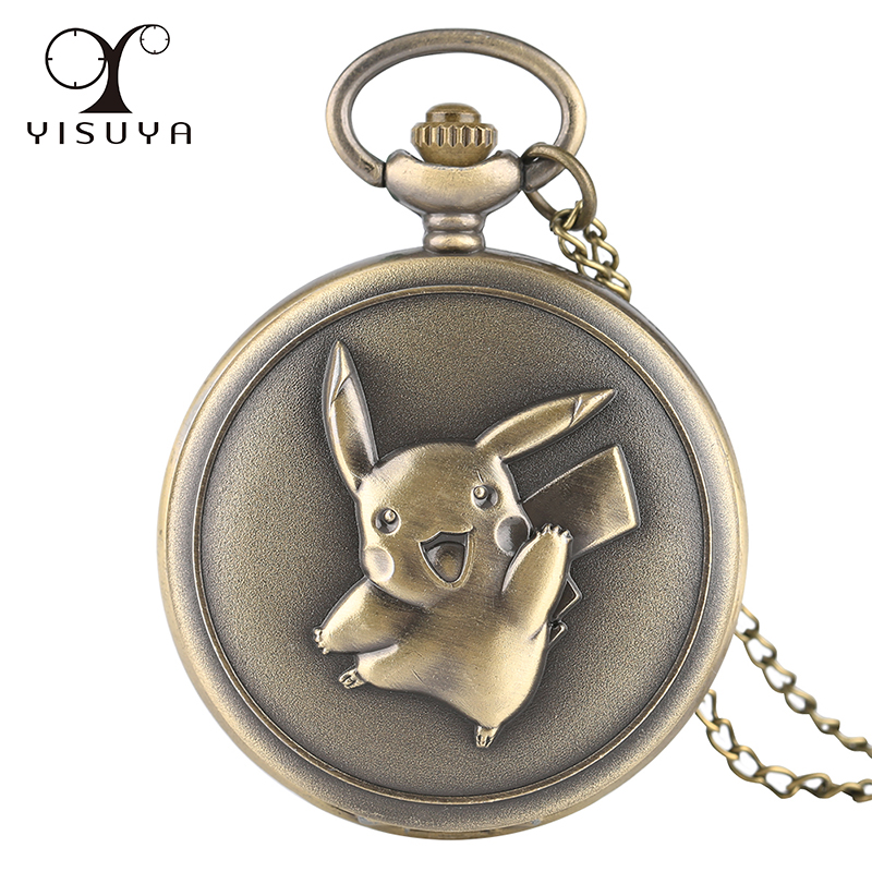 Vintage Pocket Watch Pikachu Game Boy Pokemon Quartz Analog Necklace Chain 80cm Gifts Clock Wholesale Dropshipping