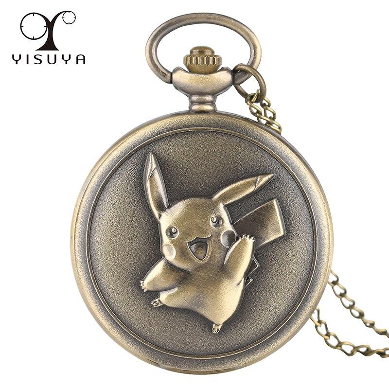 Vintage Pocket Watch Pikachu Game Boy Pokemon Quartz Analog Necklace Chain 80cm Gifts Clock Wholesale Dropshipping