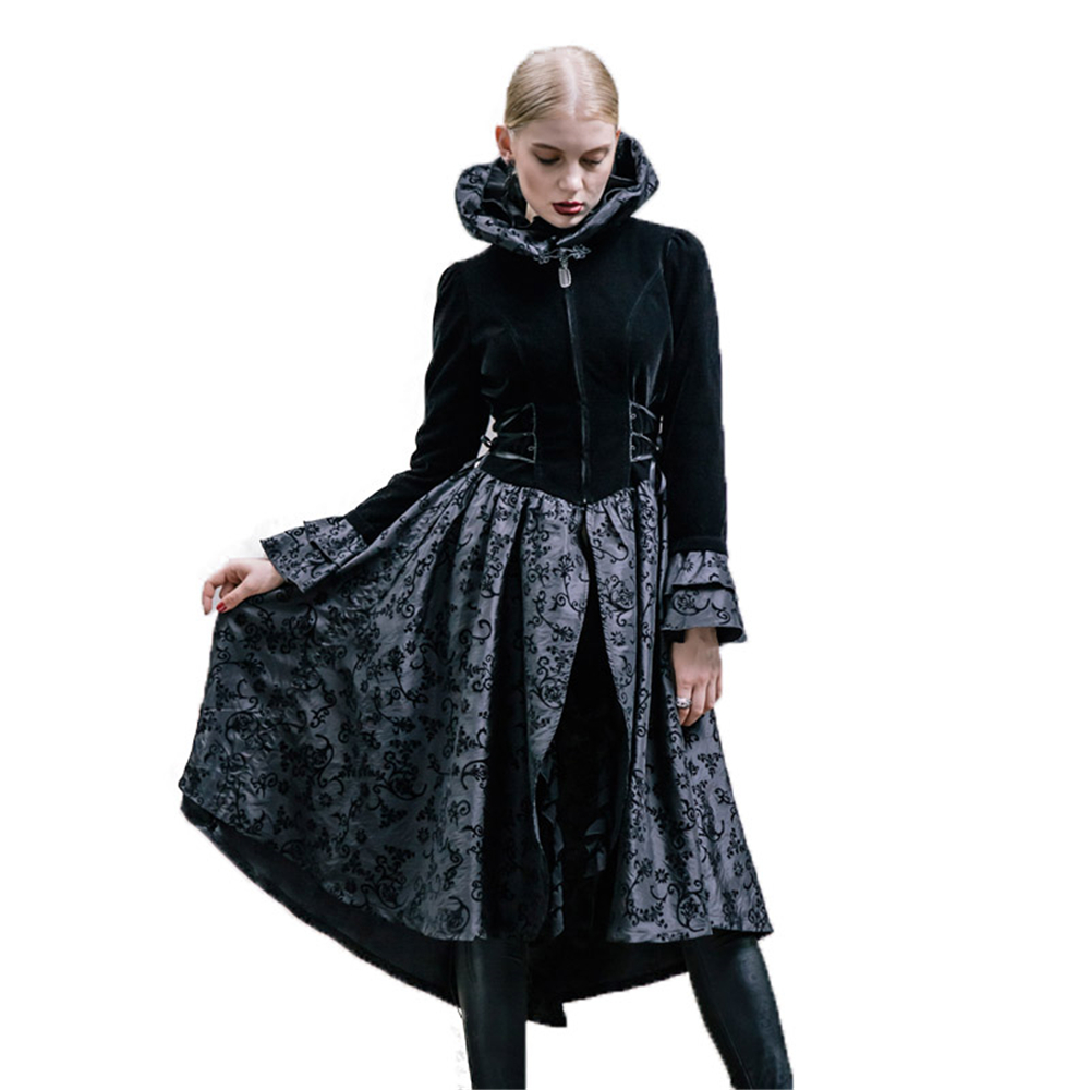 2017 Court Goth longue robe de soirée Punk plissée col haut robe élégante femmes vêtements de cérémonie robes